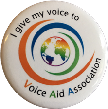 """Button """"I give my voice to Voice Aid"""""""